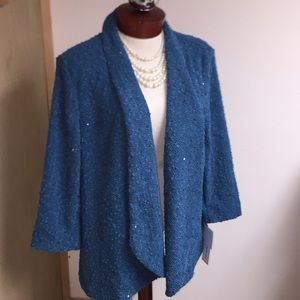 Alfred Dunner Jacket Teal & Sequin 20W NWT!